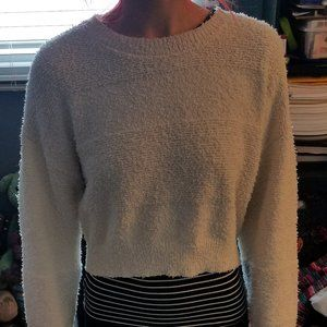 Forever XXI cream cropped sweater, size M